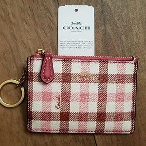 Coach Mini Skinny ID Case F77898 Pink Red Gingham